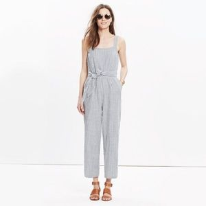 Madewell | Blue White Striped Overall Jumpsuit